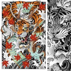 Asia Tattoo, C Tattoo, Tiger Dragon, Japanese Tattoo Art, Tiger Art, Fantasy Images, Irezumi, Cool Art, Awesome Art
