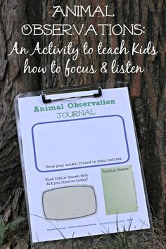 Kids will love this free printable Animal Observation log!  Help them to increase their focus and attention span by learning to observe and track nature & wildlife.