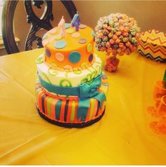Candy themed birthday party cake