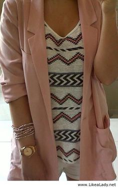 Tribal print and light pink cardigan
