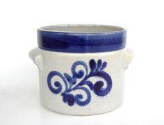 West German pottery planter blue retro plant pot Marei midcentury modern salt glaze vintage cactus or flower pot marine grey L Knoedgen