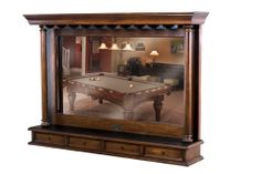 Brunswick Centennial Back Bar in chestnut includes stemware holder across the top, mirrored back and shelf with drawers along the bottom.