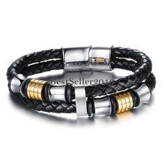 Edelstahl Leder Armband Armreif Schwarz Gold Silber Geflochten Motorrad Magnet