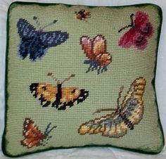 "WILLIAMSBURG Butterfly Needlepoint Throw Pillow 9"" X 9"" Green"