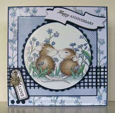 House-Mouse & Friends Monday Challenge: Anything Goes plus use a Charm, Wedding Anniversary Cards, Anniversary Verses, Happy Anniversary, House Mouse Stamps, Scrapbook Cards, Scrapbooking, Animal Cards, Penny Black, Cards For Friends