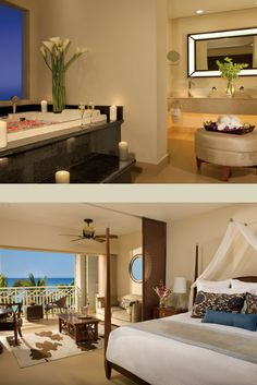 The Junior Suite Ocean View provides a separate living area, elegant decor and stunning ocean views at Secrets St. Montego Bay Jamaica, All Inclusive Vacations, Themed Weddings, Saint James, Ocean Views, Beach Themes, Resorts, Living Area, Separate