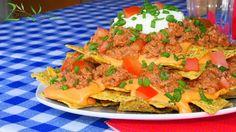"""Gluten Free Vegan Nachos Bell Grande Recipe - Delicious Nachos Supreme made without any dairy using walnuts as minced """"meat"""". Great vegan Super Bowl Snack!"""