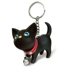 Malltop Cat Keychain, Cute Black Kitten Collar Bell Keyring For... ($1.68) ❤ liked on Polyvore featuring accessories, ring key chain, animal key chains, keychain key ring, cat key ring and key chain rings