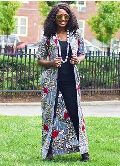Trend Alert: Ankara Kimono Styles To See. - Ankara collections brings the latest high street fashion online African Attire, African Dress, Cool Street Fashion, Street Style, Latest African Fashion Dresses, Ankara Fashion, Ankara Jackets, Ankara Styles, Ankara Tops