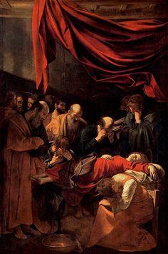 """""""Muerte de la Virgen, la Dormición o El Descendimiento"""". Es una obra de Miguel Ángel M. de Caravaggio de 1605-1606, realizada al óleo sobre lienzo, mide 369 x 245 cm y se encuentra en el Museo Nacional del Louvre, París."""