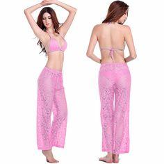 2017 Hot Sexy Women Beach wear Leisure Loose Style Adjustable Waist Floral Long Lace Beach Pant Tunic Swimsuit swimwear Swim