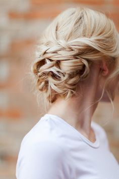 pretty blonde braided bridal updo  ~  we ❤ this! moncheribridals.com