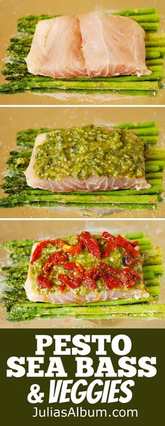 Pesto Sea Bass and Veggies in Foil, with Asparagus and Sun-Dried Tomatoes. (fish, seafood recipe)