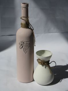 painted bottle and vase
