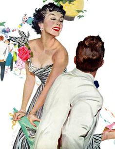 "She is literally and figuratively kicking up her heels, as she sharpshoots for a man. I think her target is identified. This artwork accompanied the story ""I Want A Man"" in the Saturday Evening Post in April 1950."