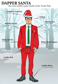 Santa Claus got a Style Make Over. He is now the most dapper dude South of the North Pole Dapper Suits, Dapper Men, Man Sitting, Knit Tie, North Pole, Suit And Tie, Santa Hat, Pocket Square, Bearded Men