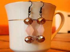 Pink and Fire Opal glass bead earrings with black tone by gr8byz, $9.00