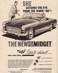 MG Midget Car Print 1961 Advertising Wall Art by RetroAdverts