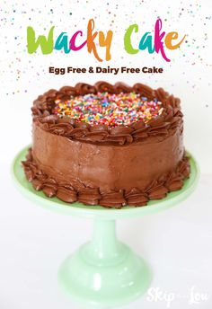 Wacky cake recipe! No eggs, no dairy with recipe adaptations for gluten free too. A delicious chocolate cake to bake with your kids.