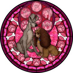 Lady and the Tramp Stained Glass Vector by *Akili-Amethyst on deviantART