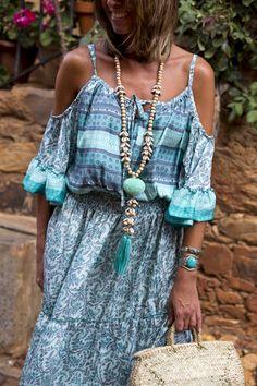 """""""Bohemian turquoise dress"""" : Alice rises up Boho Chic, Hippy Chic, Boho Style, My Style, Morocco Fashion, Boho Fashion, Spring Fashion, Womens Fashion, Bohemian Clothing"""