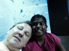 Daddy and Sarah at the aquarium