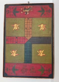 Lot: Polychrome Game Board on Wood, c 1880, Lot Number: 0116, Starting Bid: $1, Auctioneer: Jasper52, Auction: Americana, Folk & Tramp Art Auction, Date: January 8th, 2017 EST