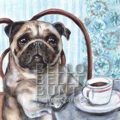 ORIGINAL GEMÄLDE Mops trinkt Kaffee im Cafe aus Kaffeetasse aus Porzellan vor Tapete mit hellblauen Streifen und Ornamenten in Blautönen >> SHOP BESUCHEN