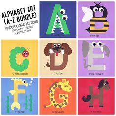 A to Z Alphabet Art Template, Upper Case Letters Bundle Preschool Letter Crafts, Alphabet Letter Crafts, Abc Crafts, Daycare Crafts, Preschool Learning Activities, Alphabet Activities, Preschool Art, Preschool Activities, Crafts For Kids