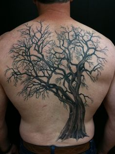 "Tree Back-piece Tattoo : like the idea, not sure about this one. Add ""family"" somewhere. Bfm"