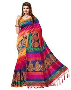 Mysore+Art+Silk+Printed+Saree+with+Tussels/+Kutch+and+with+blouse.Buy+only+from+nirvaan+sarees+for+genuine+and+original+product+.