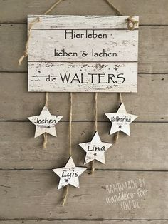 Live here . with stars and names vintage banner label sayings wooden signs vintage shabby chic love family decoration handm Vintage Banner, Wood Crafts, Diy And Crafts, Vintage Shabby Chic, Diy Baby, Wooden Signs, Picture Frames, Xmas, Diy Projects