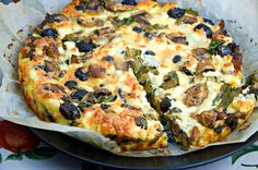 Frittata with Spinach, Mushrooms & Black Olives