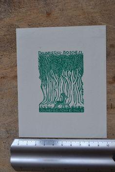 158) Ex Libris Bookplate by Bruno Marsili (da Osimo) for Rosita Boschesi - Deer | eBay