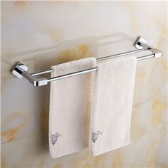 Modern Simple Style Bathroom Products Bathroom Accessories Copper Art Chrome Color Double Rod Towel Bar Towel Rack Bathroom, Brass Bathroom, Towel Rod, Towel Bars, Copper Art, Chrome Colour, Rock Wall, Bathroom Styling, Polished Brass