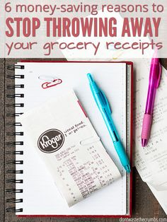 Having a healthy grocery budget is easier than you think if you keep your receipts! Learn 6 reasons to keep receipts and what to do with them each week to save money! :: DontWastetheCrumbs.com