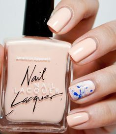 INSPIRATION :: Like this color combo...the peachy nude (try American Apparel Dance or Summer Peach) w/ the cobalt blue (AA Lazuli) and white (AA T-Shirt) splatter accent nail. Google for a splatter tutorial. :: Subtle Ways to Upgrade Your Nude Manicure - Easy Nail Art Ideas for Nude Nail Polish - Good Housekeeping