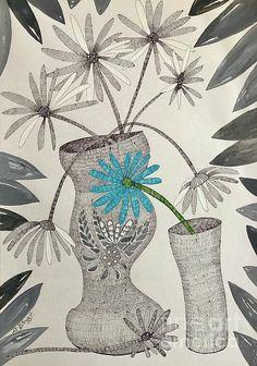 Aqua Daisy. Pen on paper by Caroline Street.