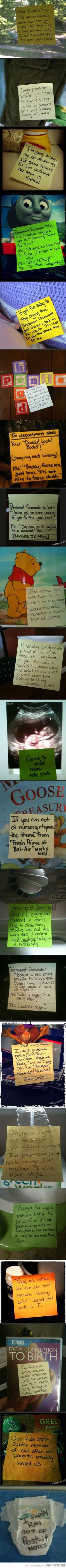 Post it notes from a stay-at-home dad…so funny!!!!