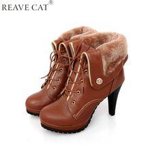 Soft PU de couro outono inverno quente mulheres tornozelo botas de salto alto fino, Sexy moda botas martin para a mulher grandes sapatos tamanho US 9.5(China (Mainland))