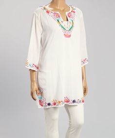 Another great find on #zulily! White Embroidered Notch Neck Tunic - Plus by Blue Island #zulilyfinds