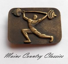 Vintage 1978 SOLID BRASS WEIGHTLIFTER BELT BUCKLE Instyle Weight Lifter Lifting