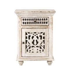 Home Decorators Collection Maharaja Sandblast White Nightstand 1472500820 - The Home Depot Indian Furniture, Cool Furniture, Bedroom Furniture, Bedroom Decor, Bedroom Ideas, Furniture Storage, Master Bedroom, Home Depot, White Nightstand