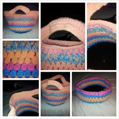 Two handle cluster stitch crochet bag. Insoired by bobwilson123 go subscribe to her on you tube.