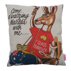 Vintage Retro 'KANGAROO with Swag & Boomerang' Cushion | Merry-Go-Round on Madeit