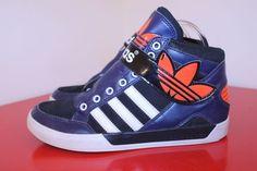 Addidas Shoe M6 W8 Navy Blue Orange Velcro Strap Lace Up  Retro High Top Sneaker #Adidas #HighTop