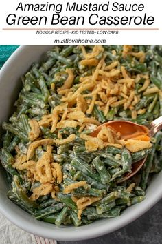 Low Carb Recipes To The Prism Weight Reduction Program A Delicious Side Dish For Any Occasion - Amazing Green Bean Mustard Sauce Casserole Recipe Is Easy To Make With Real Cream And Approved By Kids Healthy Side Dishes, Vegetable Side Dishes, Side Dishes Easy, Side Dish Recipes, Healthy Vegetable Recipes, Vegetarian Recipes, Casserole Recipes, Soup Recipes, Appetizer Recipes