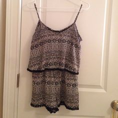 Black and white romper Black and white Aztec printed romper Love Culture Pants Jumpsuits & Rompers