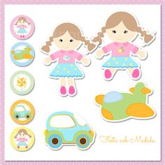 Festa Personalizada Gêmeos:  Boneca, Carrinho e Avião