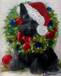 NEEDLEPOINT CANVAS PRINT Scottie Scottish Terrier Dog Art by Mary Sparrow 9x12…